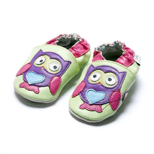 amsomo owl purple with flower *Eule / Lederpuschen / Krabbelschuhe / Girls